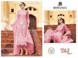 Pink Unstitch Taj Vol 1 Bonanza Pakistani Dress Material