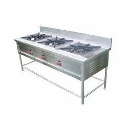 LPG Three burner gas range, For Restaurant