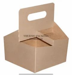 Brown Square Drink Cup Carrier with Handle, Size(LXWXH)(Inches): 6.4x6.4x8.1, Weight Holding Capacity (kg): <5 Kg