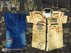 FRONT OPEN HALF SHIRT WITH DENIM PANT FOR BOYS