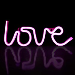 22 PVC Love Neon Light Pink Color USB Powered, For Decoration