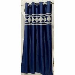 Printed Eyelet Navy Blue Designer Door Curtain, Size: 7*4 Feet
