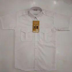 Usha Collar Neck Plain White Cotton Shirt, Machine Wash and Hand Wash