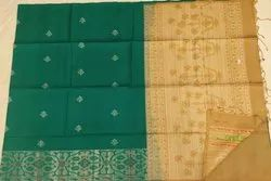 Forest Green&Buiscut Color Silk Saree
