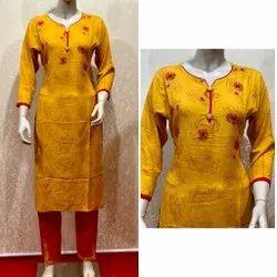 V Neck Designer Printed Cotton Kurti