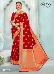 Red Color Designer Jacquard Rich Pallu Saree