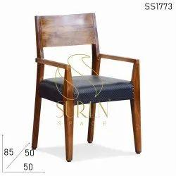 Suren Space 50 X 50 X 85 Cm Restaurant Wooden Dining Arm Chair, Finish: Polish