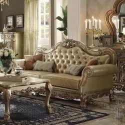 Wooden Golden Three Seater Designer Sofa Set, 7 Inch