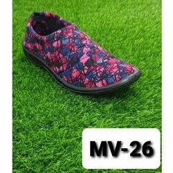 Ladies PVC Sole Fabric Slip On Shoes