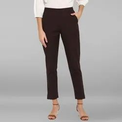 Janasya Women's Brown Pure Cotton Narrow Pant(BTM031)