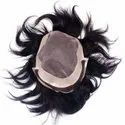 Fine Monofilament Human Hair Patch Toupee With 3 Wig Clips And Hair Dryer For Men And Boys