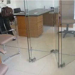 Plain Transparent Patch Fitting Glass Door, Thickness: 10mm