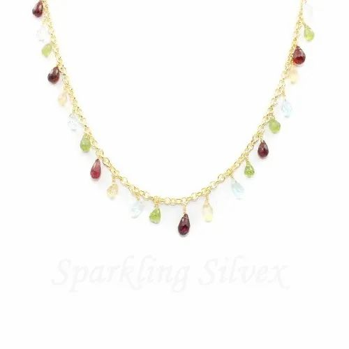 Multi Stone Chain Gold Plated