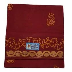 Party Wear Printed Ranee Bathik Sungudi Cotton Saree, Without Blouse, 5.4 Meters