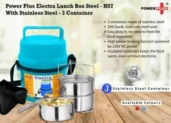 3 Container Power Plus Electra Lunch Box Steel