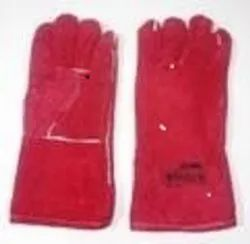 Red Colour Leather Hand Gloves