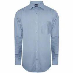 Plain Collar Neck Mens Pure Cotton Light Blue Shirt, Handwash