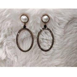 Oval Party Wear Western Earrings