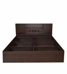 Brown Sheesham Wooden Designer Bed, Size: H35 X W63 X D86