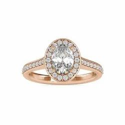 Oval Cut Full White Moissanite Halo with Accent Ring White,Yellow,Rose Gold For Engagement