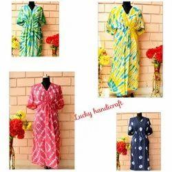 Tie Dye Printed Cotton Kaftan Dress