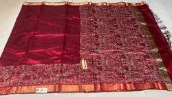 Pure Dupion Raw Silk Handloom Saree. With Worli Weaved Border , Pallu