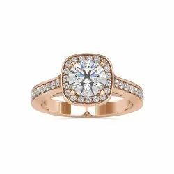 Round Cut Full White Moissanite Halo Ring with accent White,Yellow,Rose Gold For Engagement, Wedding