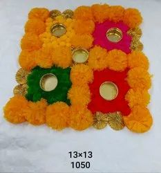 Artificial Marigold Flower Rangoli Mat With Golden Gota Work Diya