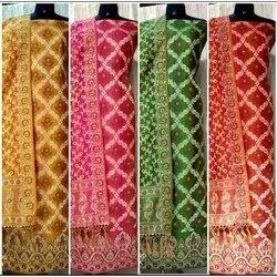 Unstitched Ladies Dupion Embroidery Suit Dupatta, Dry clean