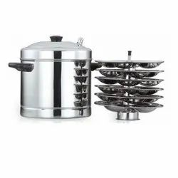 Semi-Automatic Stainless Steel 6 Plate South Indian Idli Pot, For Home
