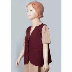 Sleeve Less Girl Maroon School Waistcoat