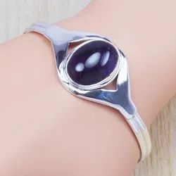 925 Sterling Silver Amethyst Gemstone Fine Bangle SJWB-22