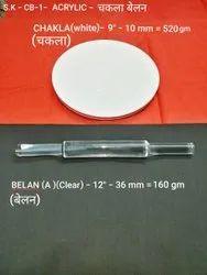 White Acrylic Chakla Belan Set, Size: 9 Inch,10mm = 520 Gm