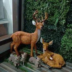 Gray Fiber Frp Deer Statue, For Exterior Decor, Size/Dimension: 4 Feet