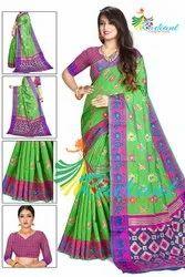 Silk Designer Saree With Animal Print And Jari Work All Over