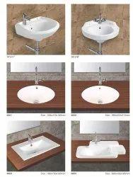 Ceramic Wall Mounted Designer Counter Top Wash Basins, For Bathroom