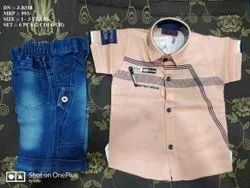 ONE COLOR PRINT HALF SHIRT & PANT SET FOR BOYS