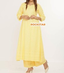 Cotton Stitched Chikankari Dress Anarkali Dress, Handwash
