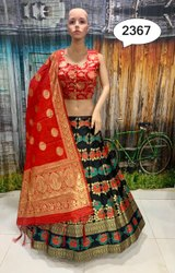 Black and Red Banarasi silk lehenga Choli
