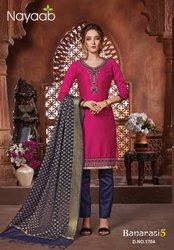 Nayaab Fuschia Pink Trendy Kurta With N.Blue Banarasi Dupatta