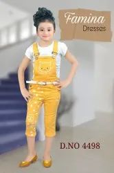 Kids Cotton Top With Denim Dungaree