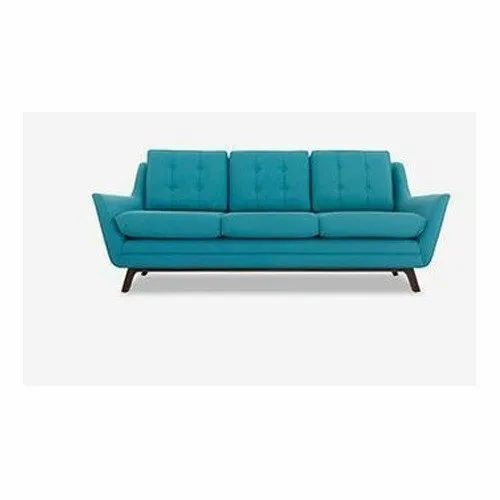 Solid Wood Frame Aqua Blue Grey Three Seater Sofa Living Room 5 Inch Rs 32000 Piece Id 22581063988