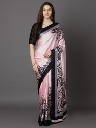 Silk Printed Crepe Sarees, Without blouse piece, 6 m (with blouse piece)