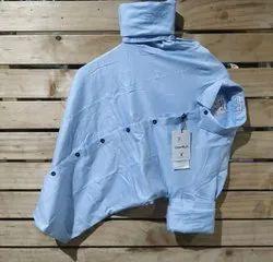 Blue Plain Mens Wear Stylish Fancy Cotton Shirt, Size: M-XXL