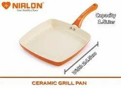 Nirlon Non-Stick Ceramic Coated Grill Pan, Orange 24cm