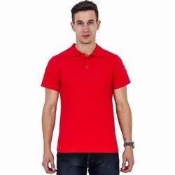Half Sleeve Mens Plain Red Polo Collar T Shirt