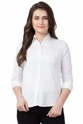 Full Sleeves Plain Women's Formal Shirt, Size: S-XL