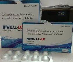 Niwcal-LC Calcium Carbonate,Levocarnitine, Vitamin D3 & Vitamin E Tablets