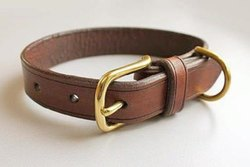 Brown Plain Leather Dog Collar