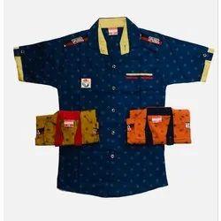 Cotton Regular Wear Kids Boys Navy Blue Half Sleeve Shirt